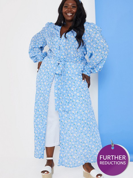 in-the-style-curve-in-the-style-curve-xnbspstacey-solomonnbspdaisy-print-longline-tunic-blouse-blue