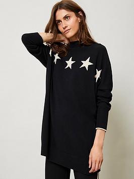 mint-velvet-multi-star-black-tunic