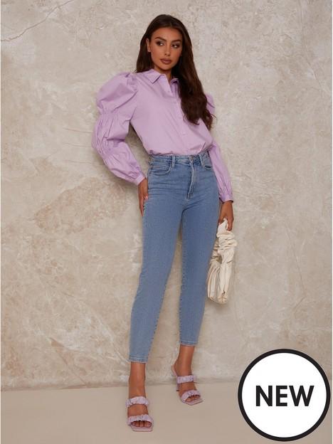 chi-chi-london-puff-sleeve-cotton-shirt-lilac