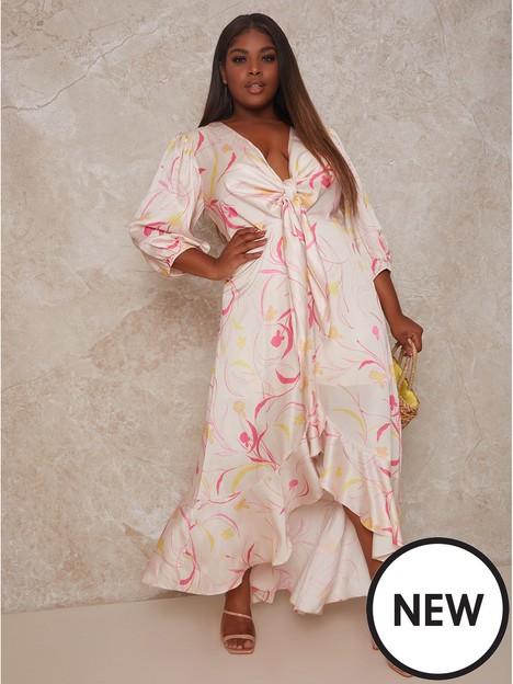 chi-chi-london-curve-graphic-print-plunge-front-tie-up-satin-maxi-dress-cream
