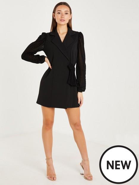 quiz-quiz-black-devore-dogstooth-sleeve-tie-blazer-dress