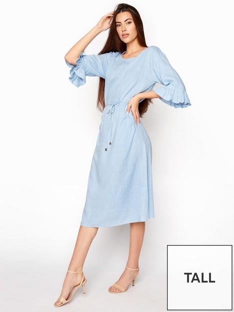 long-tall-sally-long-tall-sally-linen-mix-frill-sleeve-tunic-blue