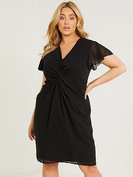 quiz-curve-chiffon-knot-front-dress-black