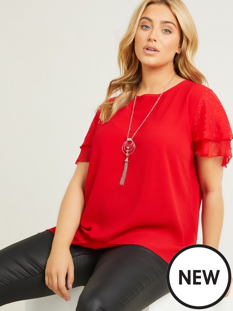 quiz-curve-red-frill-sleeve-necklace-top