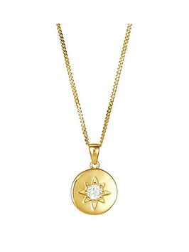 the-love-silver-collection-sterling-silver-gold-plated-cubic-zirconia-disc-pendant-162-chain-117mm