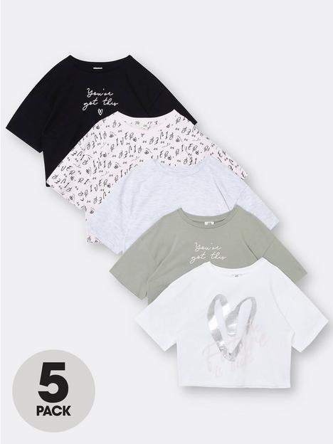 river-island-girls-5-pack-love-cropped-tshirts-multi