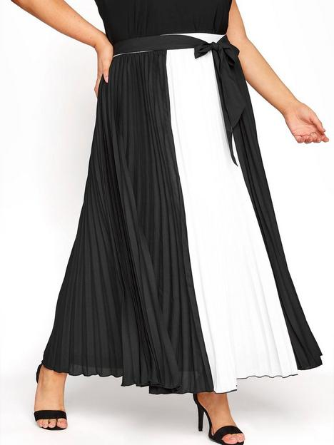 yours-yours-london-colour-block-pleated-maxi-skirt-black