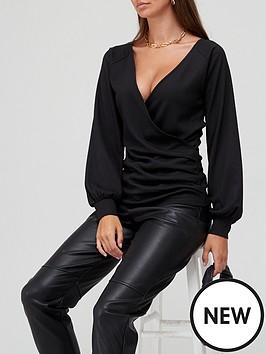 v-by-very-volume-sleeve-wrap-top-black