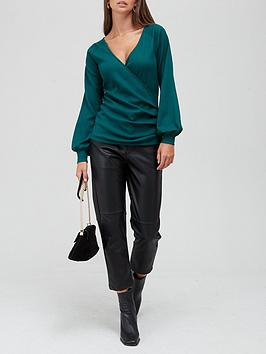 v-by-very-volume-sleeve-wrap-top-green