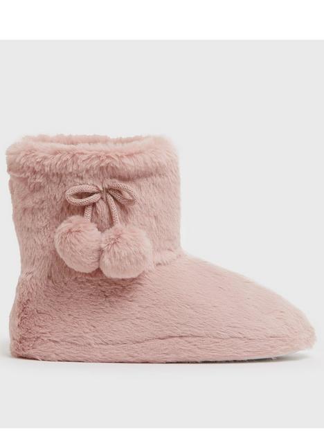 new-look-faux-fur-pom-pom-slipper-boot-pink