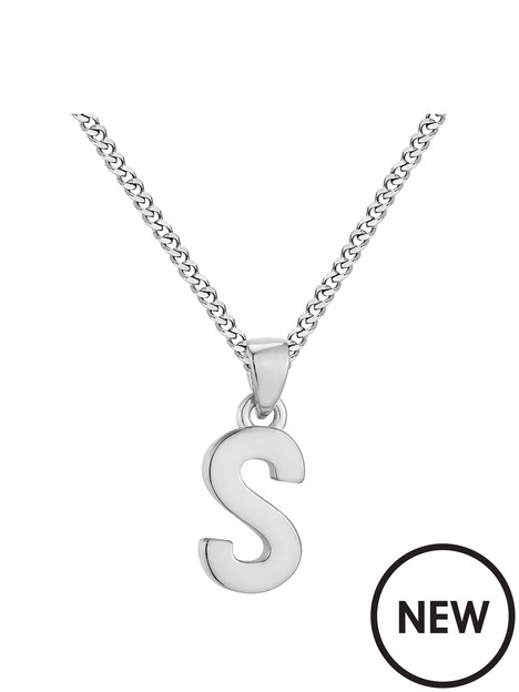 the-love-silver-collection-sterling-silver-alphabet-initial-pendant-adjustable-necklace