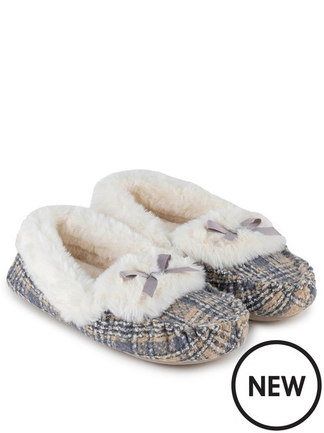 totes-brushed-check-moccasin-slipper-grey