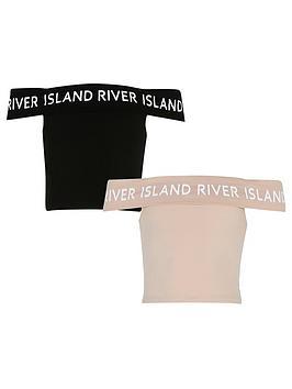 river-island-girls-2-pack-bardot-top-blackbeige