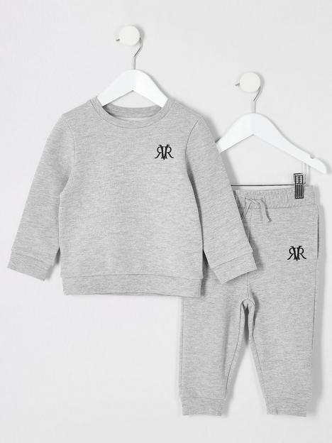 river-island-mini-mini-boys-logo-crew-and-jog-set--grey