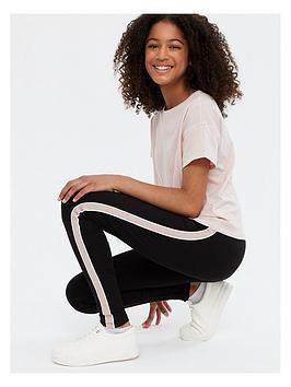 new-look-915-girls-side-stripe-piped-leggings-stone