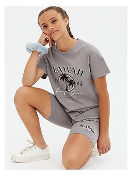 new-look-915-dark-grey-hawaii-logo-t-shirt-and-shorts-set