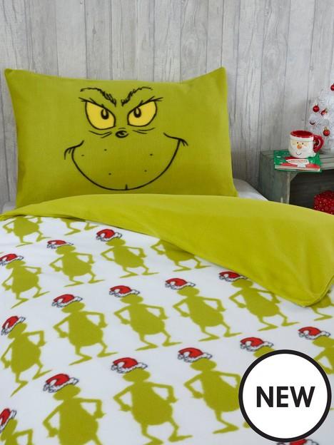 the-grinch-im-back-fleece-christmasnbspbedding-singlenbspduvet-covernbspset