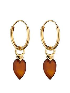 the-love-silver-collection-gold-plated-silver-birthstone-charm-drop-earrings