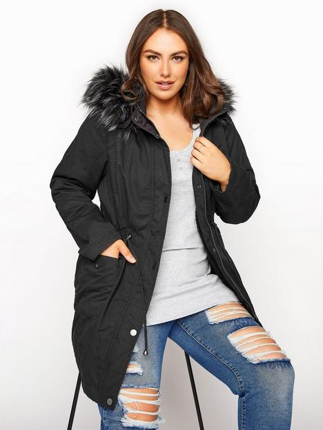 yours-yours-faux-fur-trim-hooded-parka-black