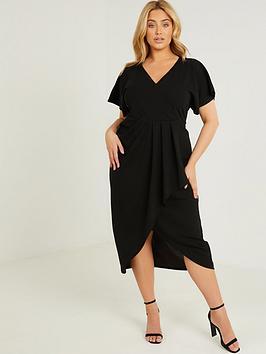 quiz-curve-scuba-crepe-frill-wrap-front-midi-dress-black