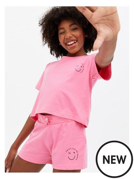 new-look-915-girls-bright-pink-smile-logo-short-pyjama-set