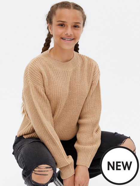 new-look-ribbed-puff-sleeve-boxy-jumper-camel