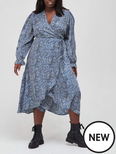 ax-paris-curve-print-wrap-midi-dress-blue