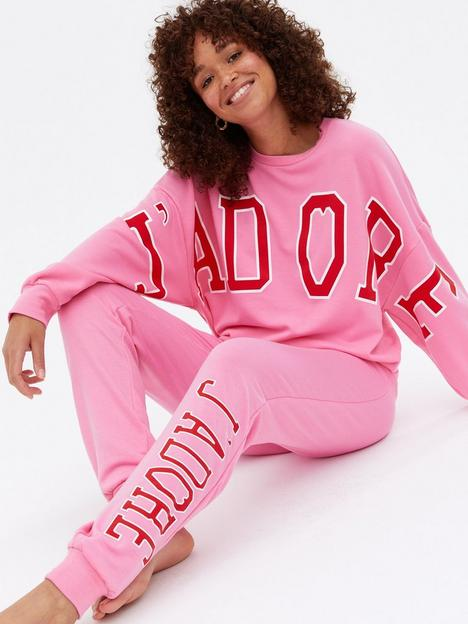 new-look-jadore-logo-lounge-cuffed-joggers-bright-pink