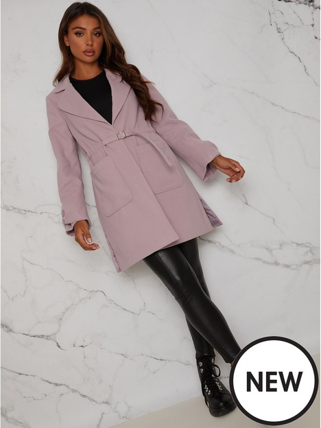 chi-chi-london-structured-coat-with-bow-sleeves-and-belt-detail-lilac