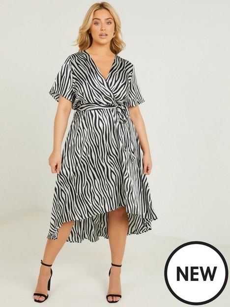 quiz-curve-quiz-curve-sage-and-black-satin-wrap-midi-dress