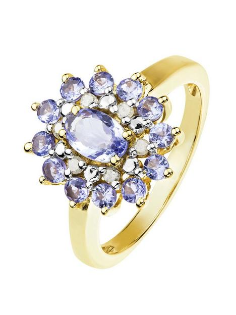 love-gem-18ct-gold-plated-silver-tanzanite-diamond-cluster-ring