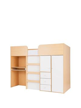 kidspace-nbspmiami-mid-sleeper-bed-desk-and-storage-with-optional-mattress