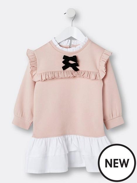river-island-mini-mini-girls-bow-bib-sweat-dress-pink