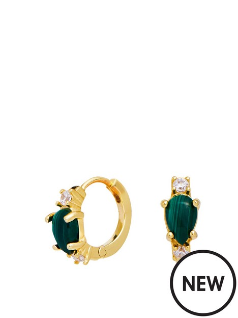 simply-silver-gold-plated-sterling-silver-malachite-stone-hoop-earrings