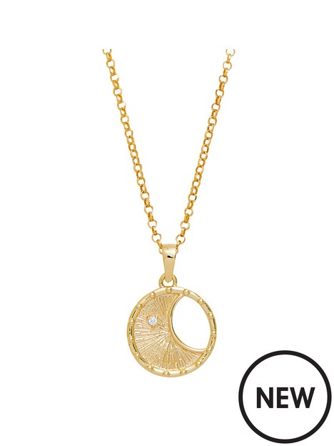 simply-silver-simply-silver-sterling-silver-gold-with-cubic-zirconia-moon-necklace