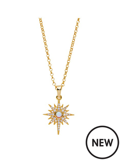 simply-silver-simply-silver-sterling-silver-gold-opal-starburst-necklace