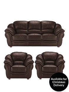 Napoli Leather 3 Seater Sofa 2 Armchairs Set And Save