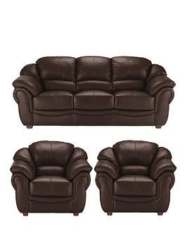 Very Napoli Leather 3 Seater Sofa + 2 Armchairs Set (Buy And Save!) Picture