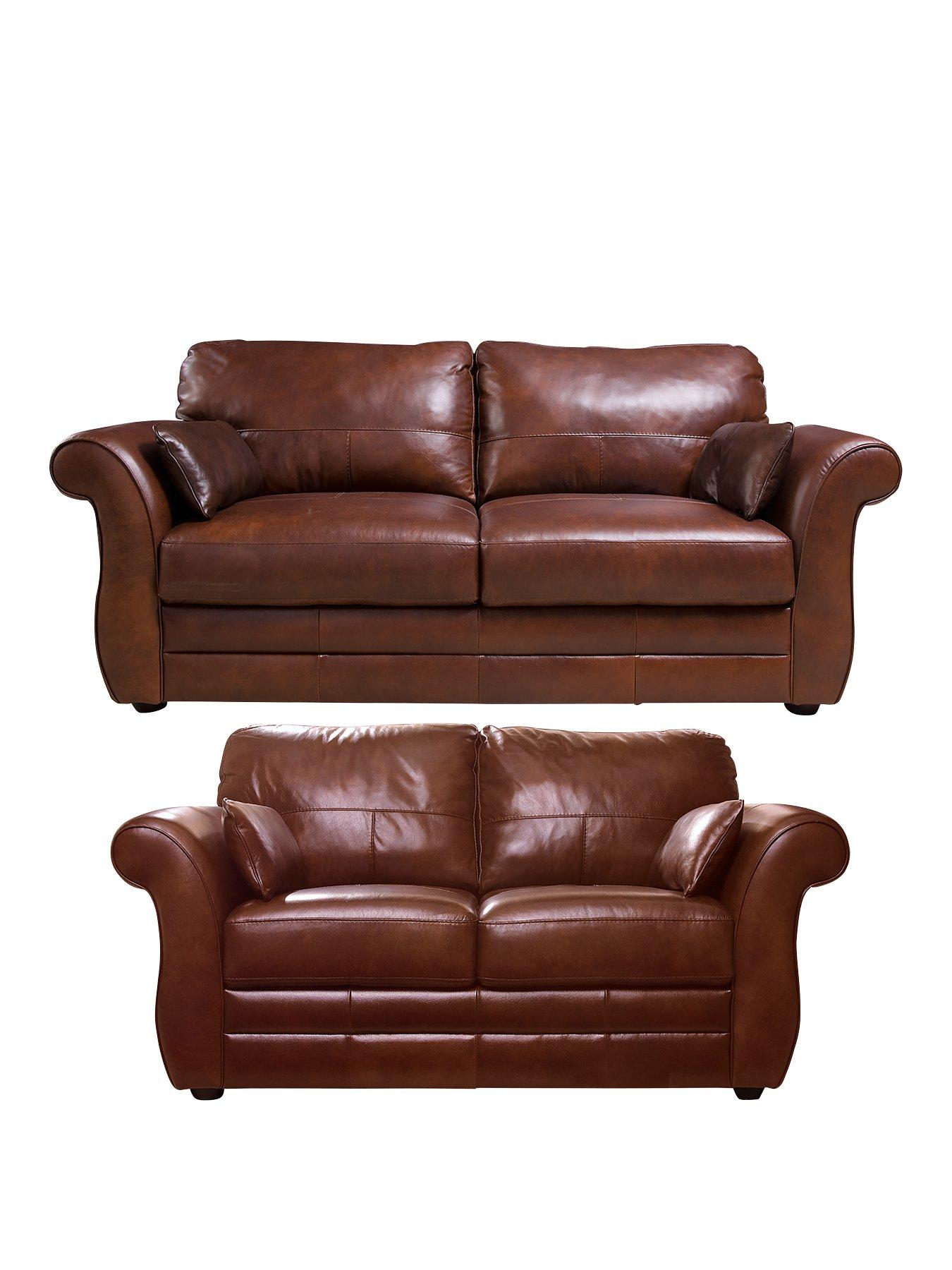 Vantage 3Seater plus 2Seater Leather Sofa Set buy and SAVE
