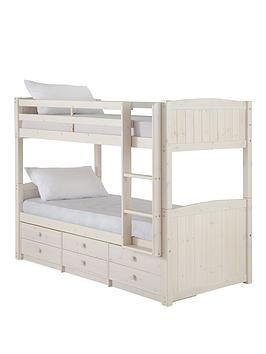 kidspace-georgie-solid-pine-bunk-bed-frame-with-storage-and-guest-bed