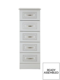 consort-dorchester-ready-assembled-narrow-chest-of-5-drawers