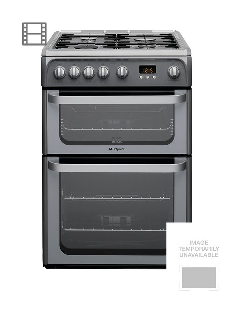 hotpoint-ultima-hug61g-60cm-double-oven-gas-cooker-with-fsd-graphite